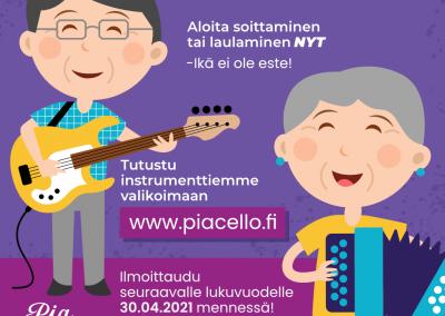 Aloita soittaminen ja laulaminen NYT, ikä ei ole este, musiikkikoulu PiaCello, Jyväskylä.