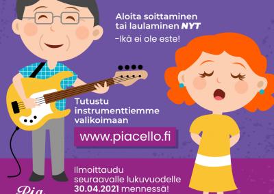 Tervetuloa musiikkikoulu PiaCelloon, Jyväskylään, oppimaan lauluopintoja ja soitinopintoja.