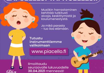 Musiikin harrastaminen kehittää tutkitusti aivoja, keskittymistä ja koulumenestystä, Jyväskylä musiikkikoulu PiaCello.
