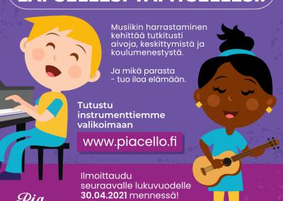 Musiikkikoulu PiaCello, Jyväskylä, jos ilmoittaudut seuraavalle lukuvuodelle, saat ilmaisen tutustumistunnin.